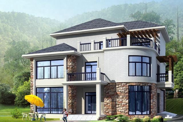 钢结构别墅(钢混房)RJ-GH314+三层-13.20X12.80米