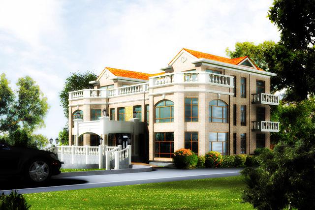 钢结构别墅(钢混房)RJ-GH316+三层-(27.6x21.6)
