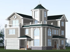 钢结构别墅(钢混房)RJ-GH315+三层楼房-12.25X14.45米
