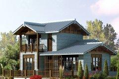 钢结构别墅(钢构房)RJ-GG201+两层-11.40X14.70米