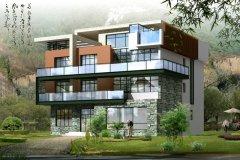 钢结构别墅(钢构房)RJ-GG301+三层-16.40X15.70米
